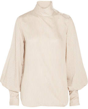 Bassike Striped Crepe Turtleneck Top - Ecru