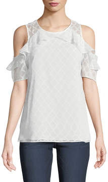 Cynthia Steffe Cece By Ruffled Cold-Shoulder Blouse