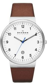 Skagen Mens Silvertone and Saddle Leather Watch