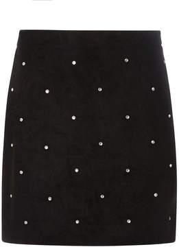 Dorothy Perkins Black Rhinestone Suedette Mini Skirt
