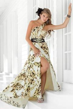 Blush Lingerie One Shoulder Printed Long Dress with Slit 9309