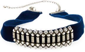 Dannijo Wren Crystal Velvet Choker Necklace