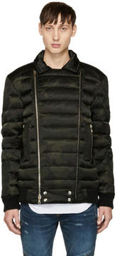 Balmain Green Camo Down Biker Jacket