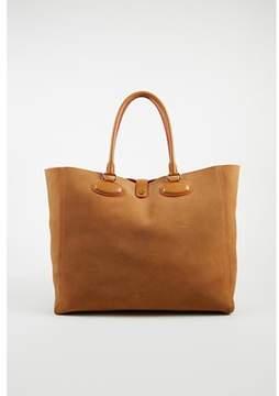 Loewe Pre-owned Brown Suede Neon Orange Leather Lined Tote Bag.