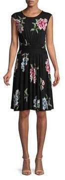 Context Floral Cap-Sleeve Dress