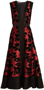 Alexander McQueen Deep V-neck flocked and jacquard dress