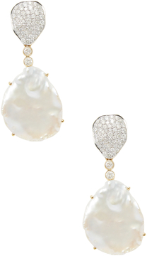 Artisan Women's Pretty Pearl & Diamond 18K Gold Earrings