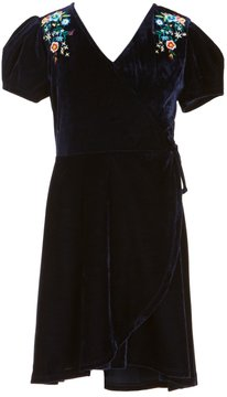 Soprano Big Girls 7-16 Embroidered Velvet Faux-Wrap Dress