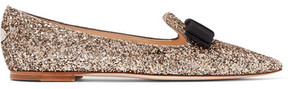 Jimmy Choo Gala Glittered Leather Point-toe Flats - Gold