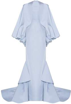 Christian Siriano Off-The-Shoulder Draped Gown