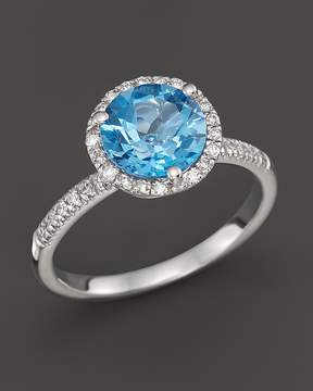 Bloomingdale's Blue Topaz and Diamond Halo Ring in 14K White Gold - 100% Exclusive