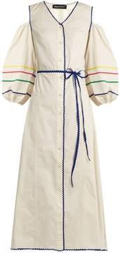 DAY Birger et Mikkelsen ANNA OCTOBER Cut-out shoulder ric-rac trim cotton dress