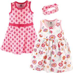 Hudson Baby Pink Floral Dress & Headband Set - Newborn & Infant