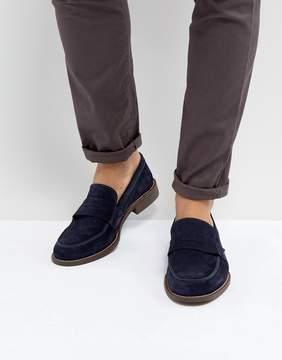 Dune Penny Loafers In Navy Suede