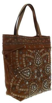 Roberto Cavalli Brown/multicolor Studded Leather Tote Bag