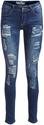 Dark Blue Asymmetrical-Ripped Skinny Jeans