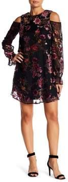 Chelsea28 Floral Burnout Velvet Cold Shoulder Dress