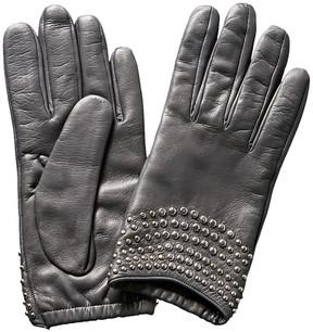Portolano Grey Studded Leather Gloves