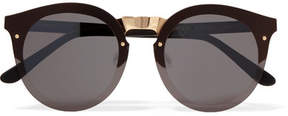 Illesteva Palermo Round-frame Gold-tone And Acetate Sunglasses - Black