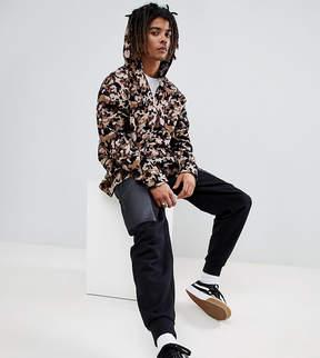 Reclaimed Vintage Inspired Oversized Camo Overhead Shirt With Hood And Half Zip