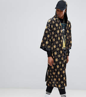 Reclaimed Vintage Inspired Boxing Robe With Gold Print