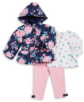 Little Me Baby Girls Three-Piece Floral Jacket Floral Top and Bow Leggings Set