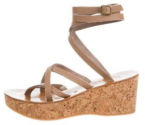 K Jacques St Tropez Leather Multistrap Wedges
