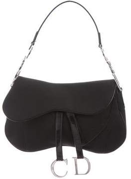 Christian Dior Leather-Trim Saddle Bag