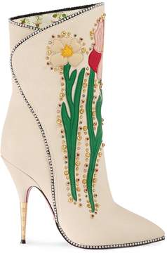 Gucci Flower Intarsia Leather Boot