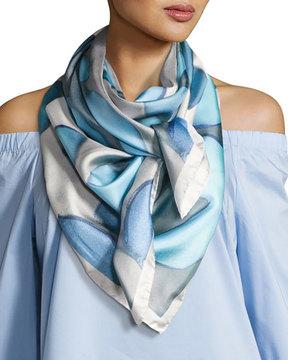 Anna Coroneo Silk Chiffon Square Floral Canopy Scarf, Light Blue