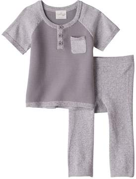 Cuddl Duds Baby Boy Knit Ribbed Henley Top & Pants Set