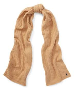 Ralph Lauren Cable Wool-Cashmere Scarf Camel Melange One Size