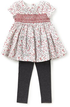 Edgehill Collection Little Girls 2T-4T Floral-Print Smocked Top & Leggings Set