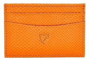 Aspinal of London | Slim Credit Card Case In Orange Lizard Cream Suede | Orange lizard cream suede