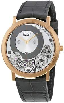 Piaget Altiplano Silver and Black Skeleton Dial 18kt Rose Gold Gray Leather Men's Watch