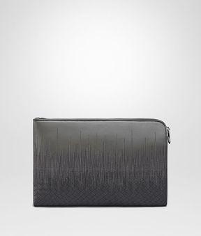 Bottega Veneta Light Grey Embroidered Nappa Leather Document Case