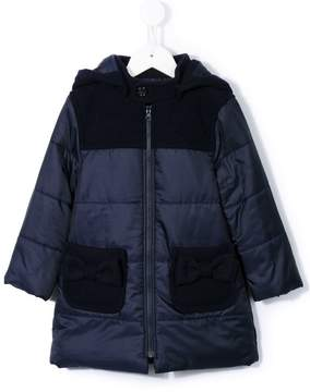 Familiar bow detail padded coat