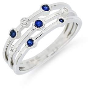 Bony Levy 18K White Gold Sapphire Diamond Ring - 0.03 ctw