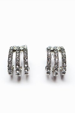 Dynamite Embellished Silver Hoop Earrings