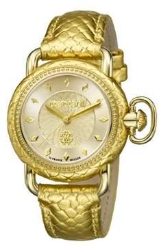 Roberto Cavalli Women's Rc-12 Swiss Quartz Gold Leather Strap Watch.