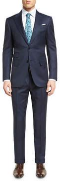 Ermenegildo Zegna Tonal Plaid Wool Two-Piece Suit, Navy