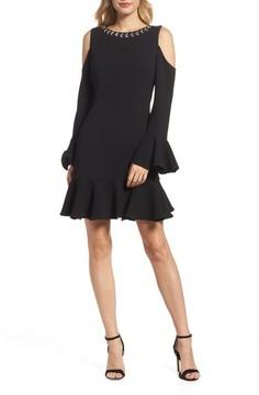 Eliza J Women's Cold Shoulder Flare Hem Dress