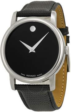 Movado Museum Black Dial Black Leather Strap Men's Watch