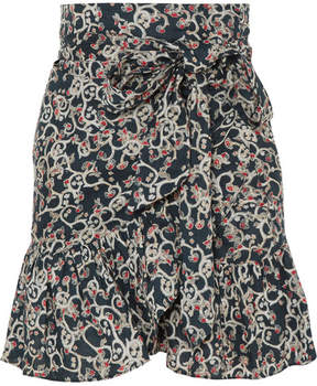 Etoile Isabel Marant Tempster Printed Linen Wrap Mini Skirt - Petrol