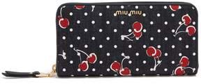 Miu Miu Cherry-print denim wallet