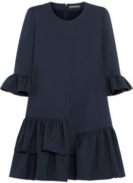 Alexander McQueen Ruffled Wool-blend Mini Dress - Midnight blue