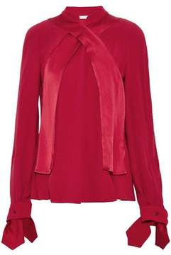 Antonio Berardi Wrap-Effect Knotted Satin-Crepe And Crepe Blouse