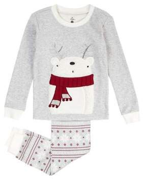 Petit Lem Little Girl's Two-Piece Cabin Holidays Cotton Pajama Top and Pants Set