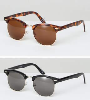 Asos 2 Pack Retro Sunglasses In Black & Tort SAVE