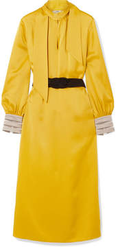 Fendi Belted Crepe De Chine Midi Dress - Yellow